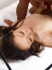 Ruhime Maiori in fishnets gets vibrator on clit and is fucked