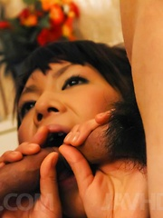Maki Sakashita gets vibrator in wet peach and cum from shlongs