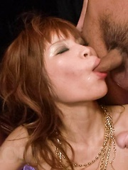 Ai Sakura Asian gets penis in mouth and gets vibrators all over
