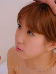 Chisato Mukai Asian gets cum on face after having peach screwed