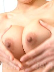 Ryuu Narushima Asian with firm cans sucks and rubs three boners