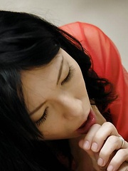 Yukari Asian in red lingerie gets cock in slit and cum in mouth