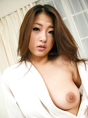 Satomi Suzuki Asian rubs cock with tits and rides till gets cum