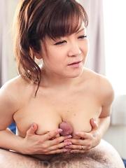 Ichika Asagiri Asian takes boner between hot boobies and sucks it