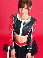Ai Kumano Asian in latex and fluffy skirt is fresh and playful