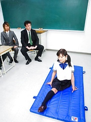 Aika Hoshino Asian flexible takes uniform off and sucks boner