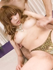 Ai Sakura Asian with big tits sucks strong cock and gets it doggy