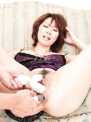 Rio Kagawa Asian screams as is fucked in asshole and sucks penis