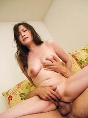 Miyama Ranko Asian with big tied boobs sucks and rides shlongs