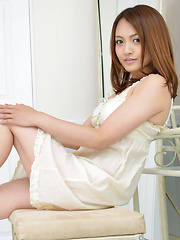 Rina Itoh Asian in white lingerie is cute princesse playing a lot