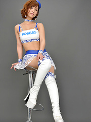 Ichika Nishimura Asian in long boots is sexy boytoy in latex