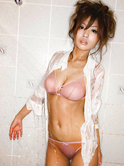 Kana Tsugihara Asian has big cans and sexy tummy in wet shirt