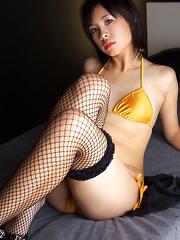 Ageha Yagyu Asian has tinny bra and bikini covering her curves