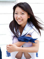 Fuuka Nishihama Asian takes school uniform off piece by piece