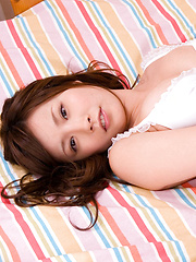 Iyo Hanaki Asian shows generous cans in white bra in her bed