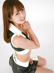 Shizuka Nakagawa Asian in long boots and latex outfit is naughty