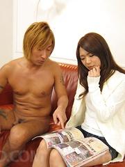 Satomi Kirihara Asian licks balls and shlong till gets sperm