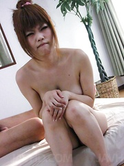 Ibuki Akitsu Asian pees after sucking and getting cock in pussy