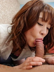 Maki Sarada Asian is fucked in hairy beaver after sucking penis