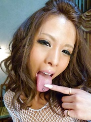 Ema Kisaki Asian with big cans fucks twat and ass with vibrators
