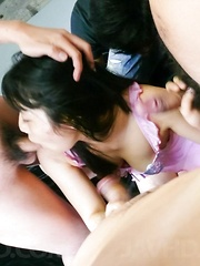 Chiharu Asian busty has cum pouring from mouth from sucked tools