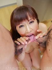 Reiko Shimura Asian sucks, strokes cocks and rubs twat at school