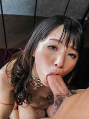 Tsuna Kimura Asian has shaved pussy fingered and rides phallus
