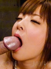 Marin Omi Asian sucks strong dong and gets it all in her beaver