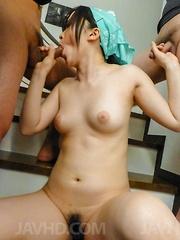 Yuka Wakatsuki has cunt wet from vibrator and palms dirty of cum