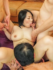 Yuuna Hoshisaki Asian has cunt in strong fuck and cum on big jugs