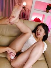 Ai Wakana Asian gets vibrator on clit and another inside vagina
