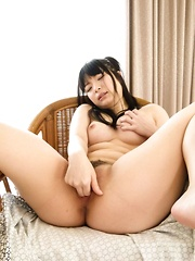 Hina Maeda fondles her boobs while getting orgasm from vibrator
