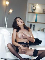 Naughty Asian Mai Ly masturbates at the couch