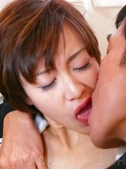 Akina Hara Asian has cunt explored and fucked by cocks she sucked