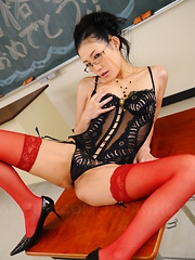 Lusty Yui Komine shows her lingerie in class
