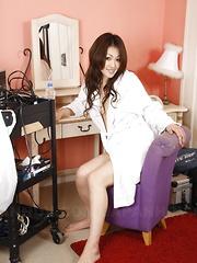 Hot dark haired Yu Yamashita strips for cam