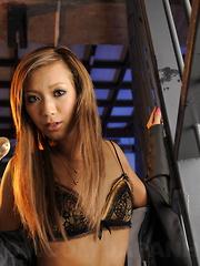 Blonde Japanese Kei teases in bikini in jail