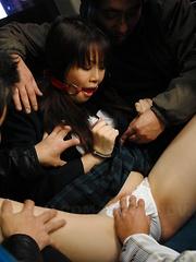 Young teen Yayoi Yoshino gets gagged on a bus