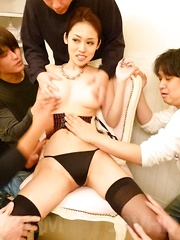 Ann Yabuki Asian with nasty jugs is aroused and gets cum on mouth