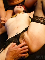 Ann Yabuki Asian in stockings has hairy cunt rubbed and fingered