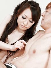 Ryo Kaede Asian rubs guy nipples and sucks and rubs his boner