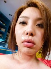 Yurika Momo Asian with hot boobies gets cum after sucking tools
