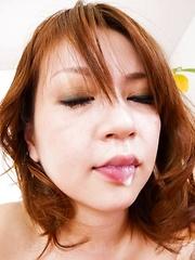 Miruku Ichigo Asian shows cum on tongue after sucking phallus