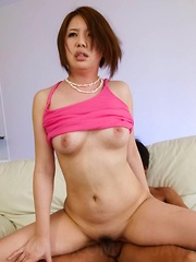 Yurika Momo Asian with round titties has cunt fingered and fucked