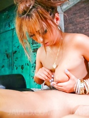 Hina Maeda Asian licks phallus and rubs it with feet outdoor