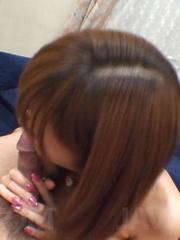 Serina Hayakawa Asian in pink bath suit rubs and licks hard dick