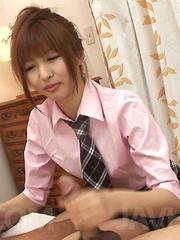 Kotone Aisaki Asian naughty in uniform sucks and strokes stify
