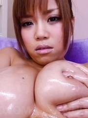 Nene Azami Asian with big and oiled jugs sucks dick and gets cum