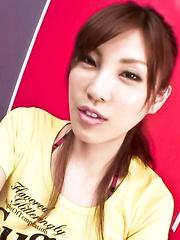 Kana Miura Asian sucks finger and swallows stiffy in her mouth