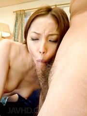 Nozomi Mashiro Asian in stockings gets cum in mouth after fuck